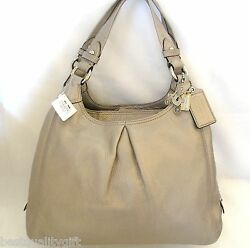 New Coach Maggie Metallic Champagne+grey,gray+silver Leather Hobo,purse,hand Bag