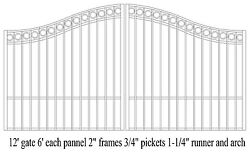 Custom Built Steel Driveway Entry Gate 12ft Wide Dual. Fencing Iron Residential