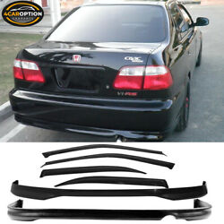 Fits 96-98 Honda Civic 4dr Ej Pp Front And Rear Bumper Lip Spoiler And Window Visors