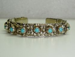 Mexico Cuff Bracelet W/ Turquoise Set In Sterling Silver 6 Wrist 281-i1