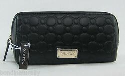 BRAND NEW OROTON SMALL ROCHE BLACK LEATHER BEAUTY CASE TRAVEL MAKE-UP BAG RP$125