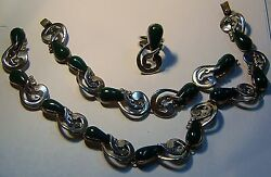 Vintage Sterling Silver And Malachite Mexican Necklace, Bracelet And Ring Set 412-l