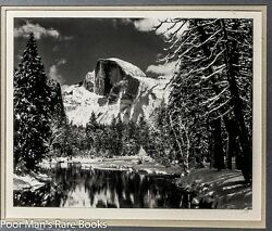 HALF DOME MERCED RIVER WINTER YOSEMITE VALLEY;  INITALED BY Ansel Adams 1970s