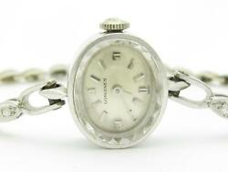 Vintage 14k White Gold And Diamonds Longines Oval Shape Swiss Made Estate Watch