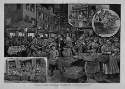 Market Night In The Jewish Quarter Of New York Doll And Toy Vender Merchants