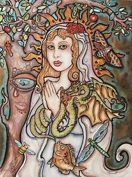 Lisa Luree art Original Madonna Mother of Dragons dragon painting Saint Mary WOW