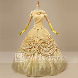 New Style Princess Belle Dress Adult Deluxe Cosplay Costume Free Pandp