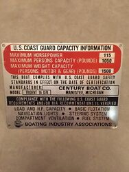 Nos Century Boat Trident 16 Ob 115 Hp Capacity Plate1970sclassic Boatsvintage