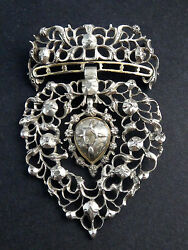 Gorgeous Antique Flemish Heart Sacred Silver Gold Cut Rose Diamonds 18th Brooch