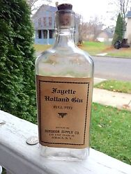 Antique Gin Bottle Fayette Holiday Gin Paper Label Ithaca Ny