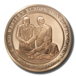 Franklin Mint History Of The Us Nato Founded 1949 45mm Proof Bronze Medal