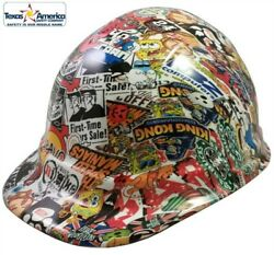 Sticker Bomb 4 Hydro Dipped Cap Style Hard Hat With Ratchet Suspension