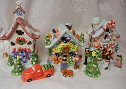 Vintage Gingerbread Village Lighted Christmas Display Boy Girl Cookie Candy Tree