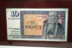 Banknotes Of All Nations 1961 Iceland 10 Kronur Money Paper Note Num1786