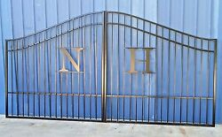 Steel - Iron Driveway Entry Gate 12 Foot Wd Dual Swing Security Home Yard