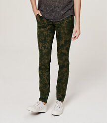 Ann Taylor Loft Floral Stretch Twill Skinny Pants In Marisa Fit Size 4 Olive Col