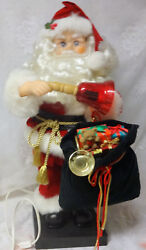 Animated Musical Telco Motion Lighted Bell Santa Claus W Toy Bag Christmas