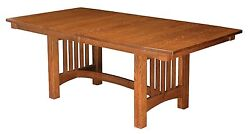 Amish Mission Arts And Crafts Dining Table Rectangle Trestle Solid Wood 42x72