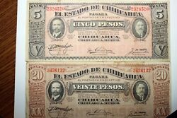 Fast Shipping Two Nice Notes 1915 Mexico 5 And 20 Peso Notes - Fine++ Num0173