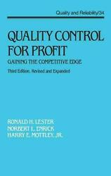 Quality Control for Profit: Gaining the Competitive Edge Third Edition by Rona