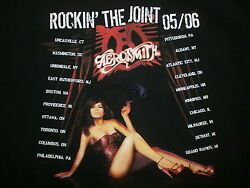 Aerosmith Rocking Joint Concert Shirt Vtg Cities 2-sided Sexy Pinup Girl Large