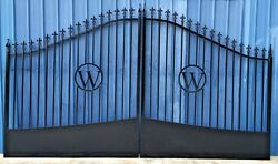 Custom Built Steel - Iron Driveway Entry Gate 14 Ft Wide Dual Swing. Residential