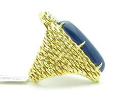 18k Yellow Gold And Diamonds Blue Lapis Hand Made Vintage Estate Hand Made Ring