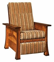 Amish Mission Craftsman Wall Hugger Recliner Accent Chair Solid Wood Upholstered
