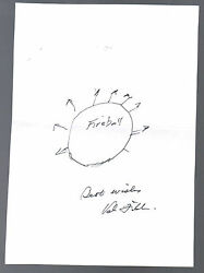 Val Fitch Signed Sketch Drawing Nuclear Physicist Nobel Prize Autographed