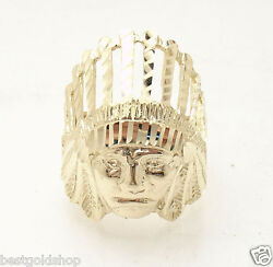 3d Size 10 Menand039s Indian Chief Head Ring Real Solid 10k Yellow Gold Great Details