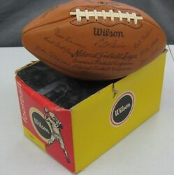 Vintage 1973 Wilson Code F Green Bay Packers Team Signed Football And Box Mint