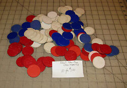 100+ Vintage Assorted Paper Poker Chips - Red, White And Blue - 3 Designs