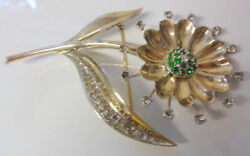 Vintage Sterling Silver White Sapphire Green Emerald Stone Flower Pin Brooch