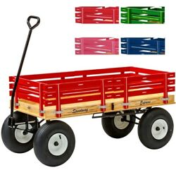 4and039 Wagon With Hand Brake - 48 X 24andfrac12 Red Pink Green Blue Amish Garden Cart Usa