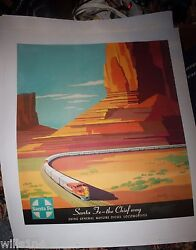 The Chief Way Native American Santa Fe Railroad Travel Poster On Linen 1950and039s
