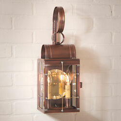 Double Colonial Wall Lantern Antique Copper Dual Candle Sconce Handcrafted Usa
