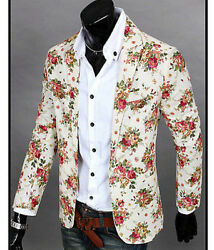Menand039s Spring Flower Long Sleeve Suits Blazers Jackets Slim Fashion Coats A196