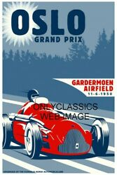 1950 Oslo Norway Grand Prix Formula One Auto Racing 11x17 Poster Vintage F1 Race