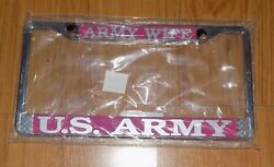 US ARMY WIFE PROUD PINK supreme license plate frame BRAND NEW METAL RARE HTF