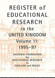 Register Of Educational Research In The United Kingdom Vol 11 1995-1997 By Foun