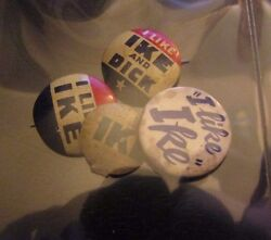 1950and039s I Like Ike 3/4 Button Pin Pinback Vg Vg+ Lot Of 4