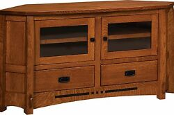 Amish Mission Corner Tv Stand Console Cabinet Solid Wood Colebrook 61