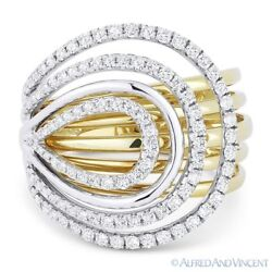 0.77 Ct Round Cut Diamond Loop 14k Yellow And White Gold Right-hand Cocktail Ring