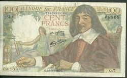 1942 Bank Of France 100 Francs Currency Note 101a Paper Noey Cent Francs