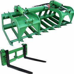 Titan 72-in Grapple Bucket And 42-in Pallet Fork Attachment Fits John Deere