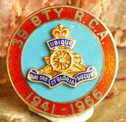 Vintage Enameled Sterling Silver Royal Canadian Artillery 39th Field Battery Pin