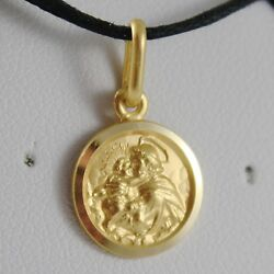 Solid 18k Yellow Gold St Saint Anthony Padua Sant Antonio Medal Made In Italy