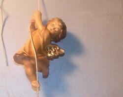 New Angel Going Down With Yarn No 2, Rustic 12 Centimeters, Wood Figurines Lepi