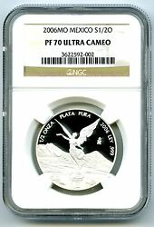 2006 Mexico 1/2 Oz Onza Silver Proof Libertad Ngc Pf70 Ucam Extremely Rare Pop12