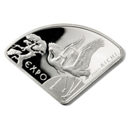 Poland Japan's Aichi Expo Cranes 10 Zlotych 2005 Fan-shaped Proof Silver Crown Y